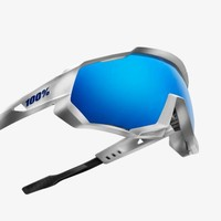100% Speedtrap Matte White Sunglasses - HiPER Blue Multilayer Mirror Lens