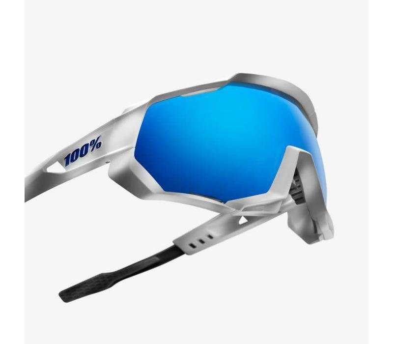 100% Speedtrap Matte White Sunglasses - HiPER Blue Multilayer Mirror Lens