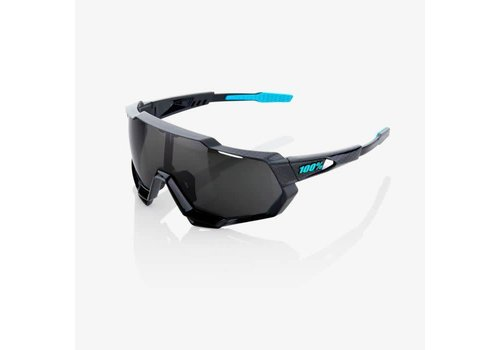 100% Speedtrap Polished Black Graphic Sunglasses - Black Mirror Lens