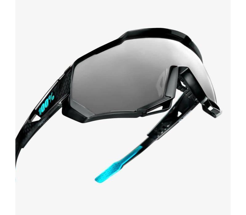 100% Speedtrap Polished Black Graphic Sunglasses - Black Mirror Lens