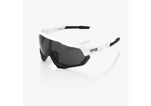 100% Speedtrap Matte White/Black Sunglasses - Smoke Lens