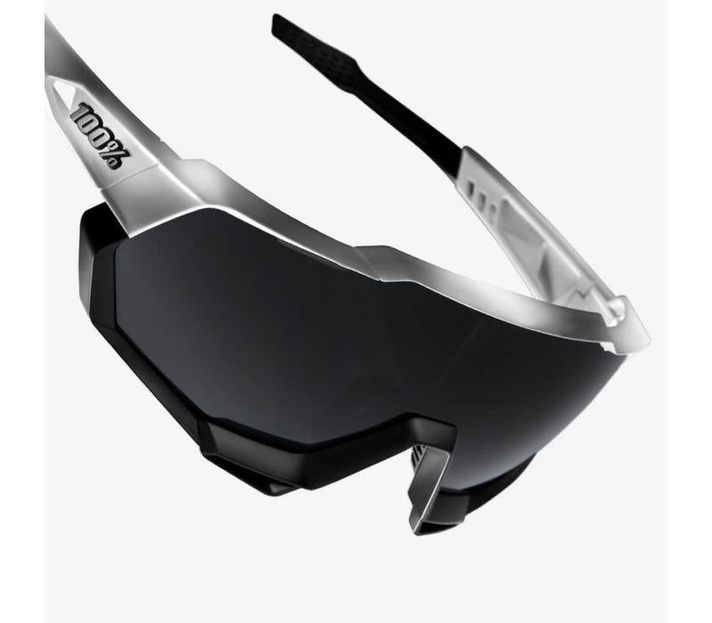 100% Speedtrap Matte White/Black Sunglasses - Smoke Lens