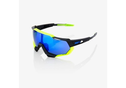 100% Speedtrap Soft Tact Black/Neon Yellow Sunglasses - Electric Blue Mirror Lens