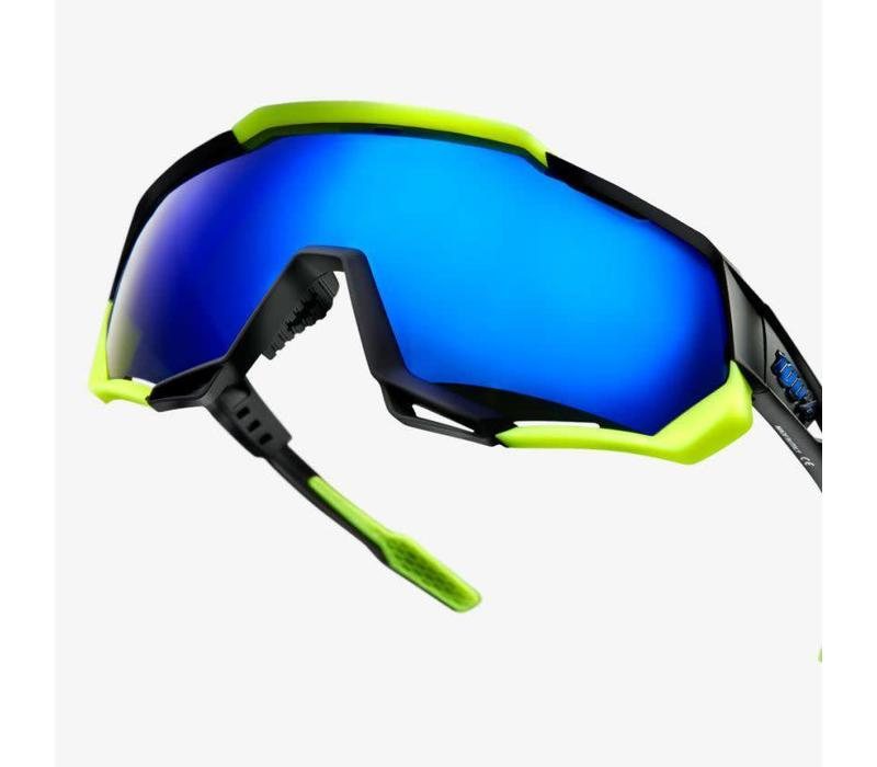 100% Speedtrap Soft Tact Black/Neon Yellow Sunglasses - Electric Blue Mirror Lens