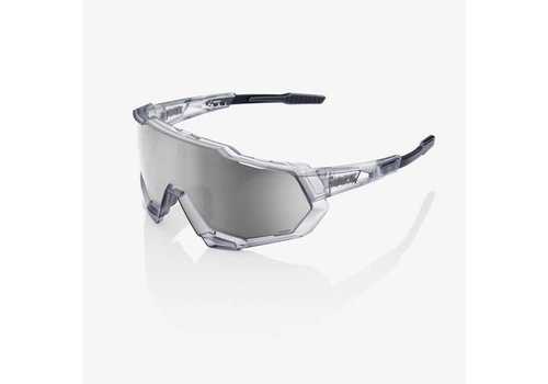 100% Speedtrap Matte Translucent Crystal Grey Sunglasses - HiPER Silver Mirror Lens
