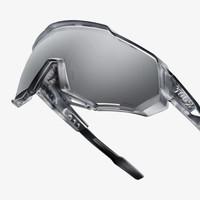 100% Speedtrap Matte Translucent Crystal Grey Sunglasses - HiPER Silver Mirror Lens