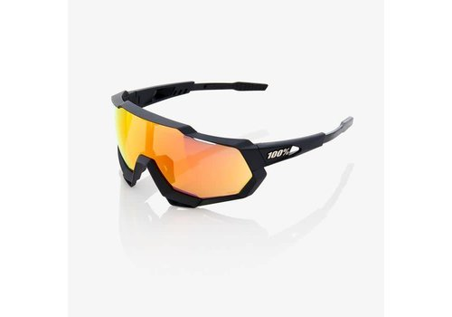 100% Speedtrap Soft Tact Black Sunglasses - HiPER Red Multilayer Mirror Lens