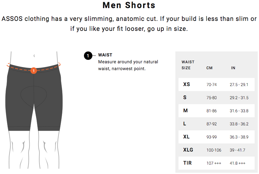 Assos Men Short Size Guide