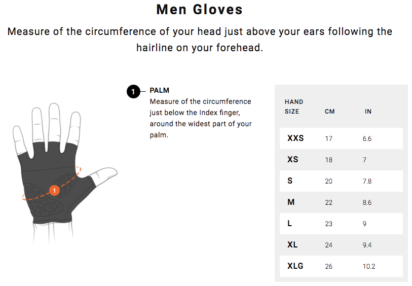 Assos Glove Size Guide