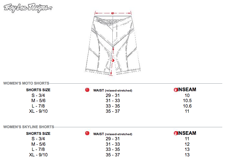 Troy Lee Designs Women Size Guide Shorts