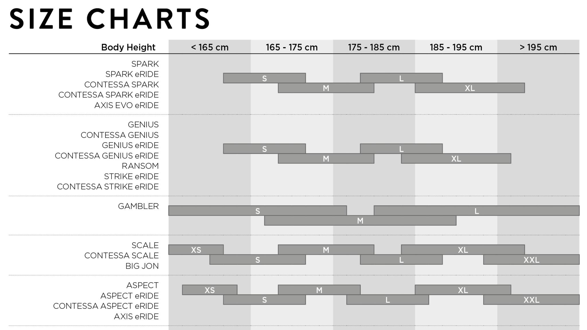 Scott Bikes Size Guide Chart