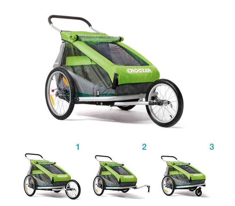 Croozer Trailer/ Jogger/ Pram for 2 Kids Green