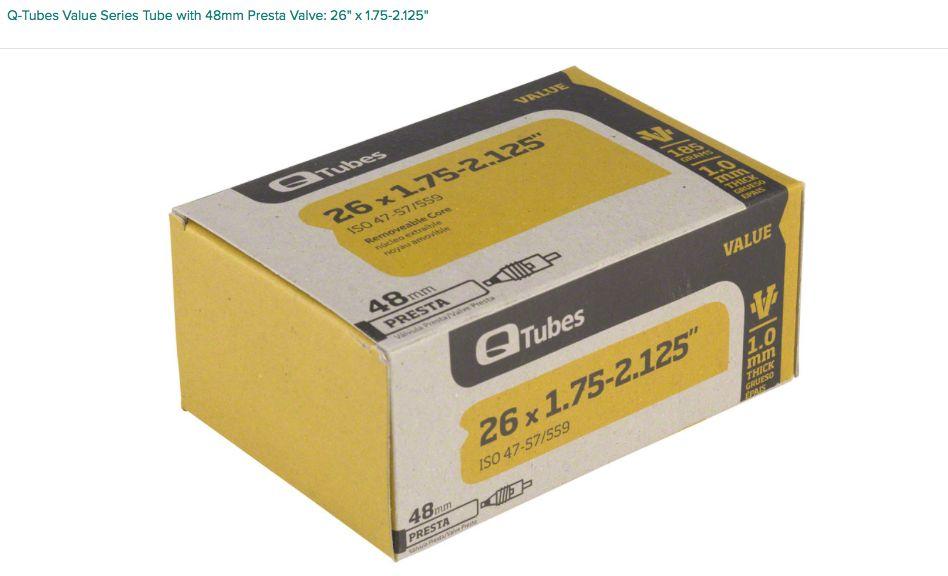 "Q-Tubes Q-Tubes Value Series Tube with 48mm Presta Valve: 26"" x 1.75-2.125"""