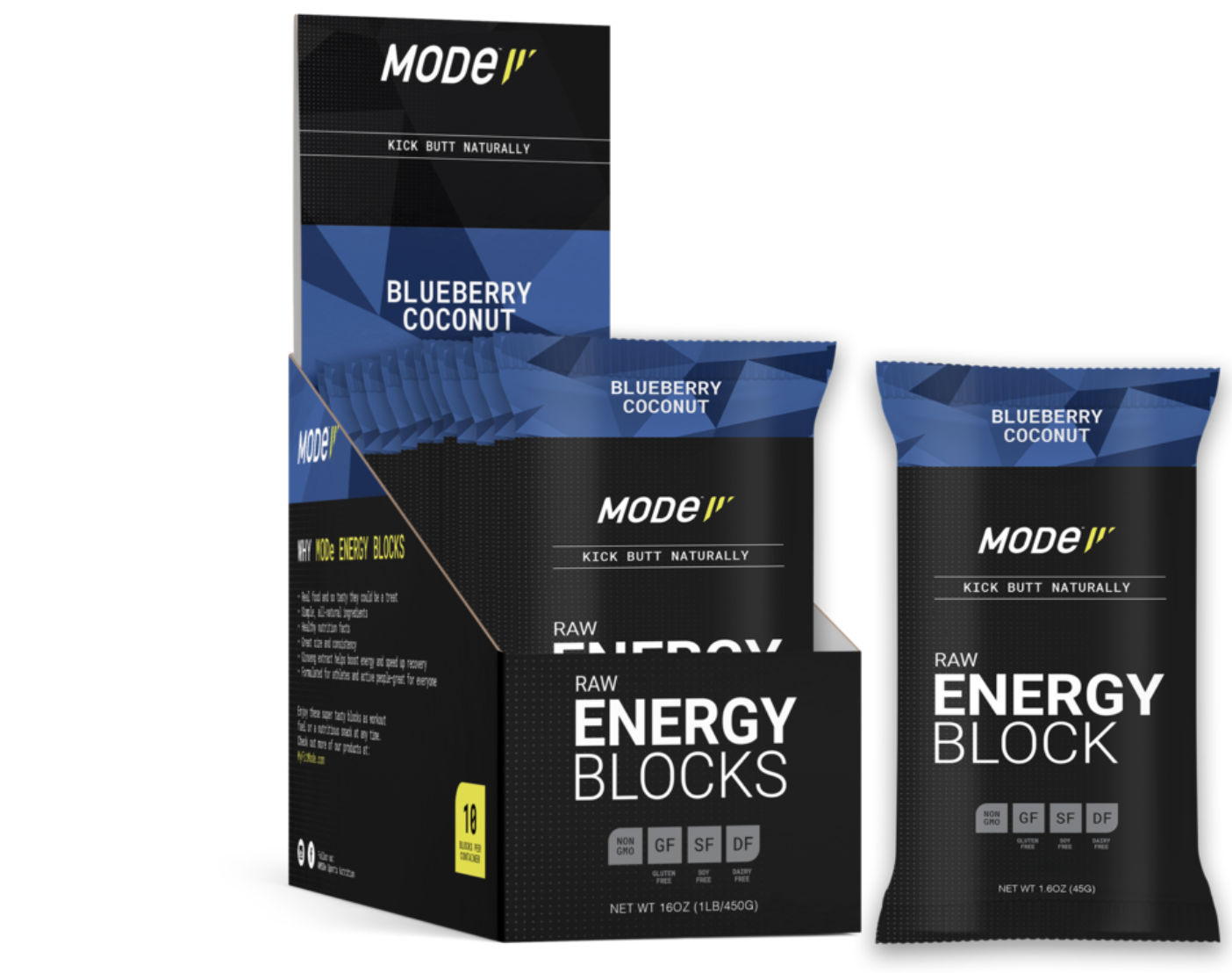 MOde Sports Nutrition Mode Raw Energy Blocks, Blueberry Coconut, Single
