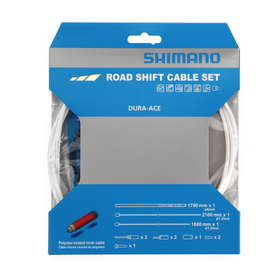 Shimano SHIMANO ROAD SHIFT CABLE SET POLYMER COATED WHITE DURA-ACE CABLES AND HOUSING