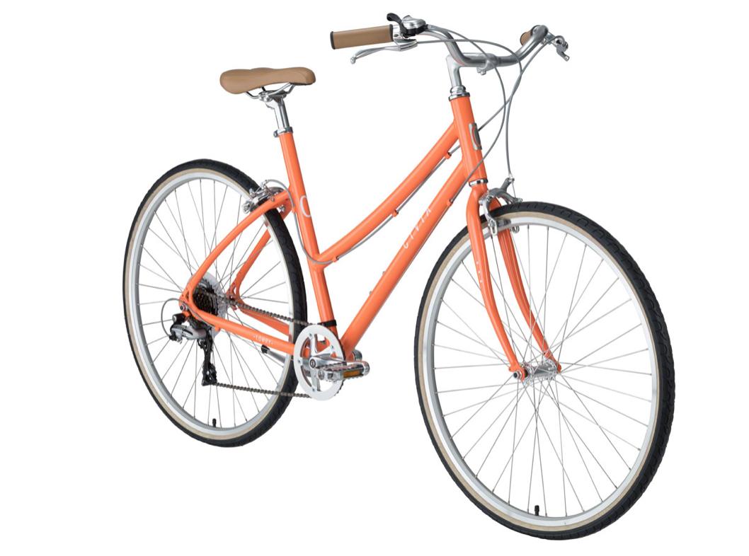 "Civia Civia Lowry 7-Speed Step-Thru Bike - 26"", Aluminum, Orange/Coconut White"