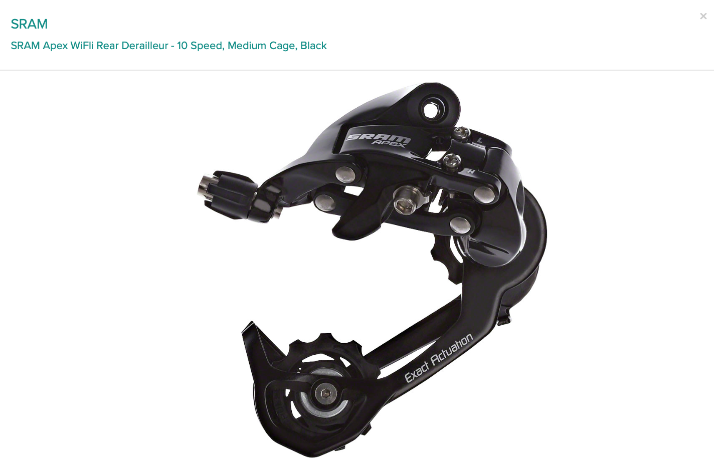 SRAM SRAM Apex WiFli Rear Derailleur - 10 Speed, Medium Cage, Black