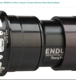 Enduro Enduro TorqTite Bottom Bracket: BB30A to 24mm, Angular Contact Stainless Steel Bearing Black