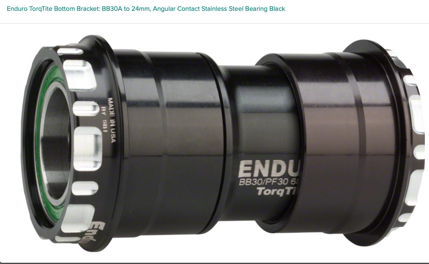 Enduro Enduro TorqTite Bottom Bracket: BB30A to 24mm, Angular Contact Stainless Steel Bearing Black