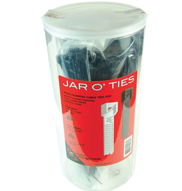 Wheels Manufacturing Wheels Manufacturing Zip Ties: Black 600 pieces with POP Jar