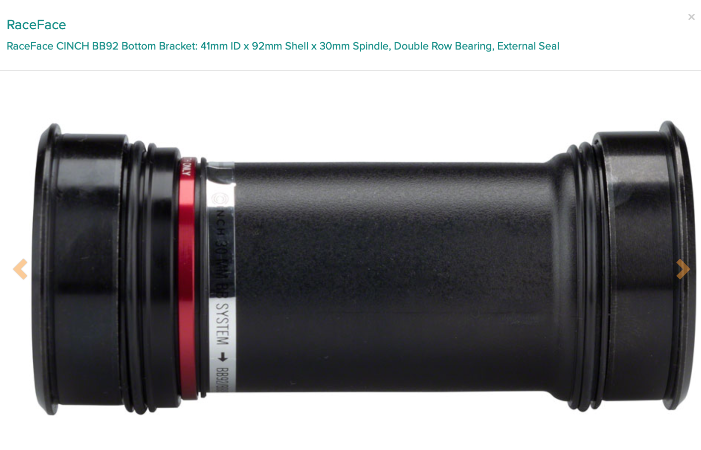 RaceFace RaceFace CINCH BB92 Bottom Bracket: 41mm ID x 92mm Shell x 30mm Spindle, Double Row Bearing, External Seal