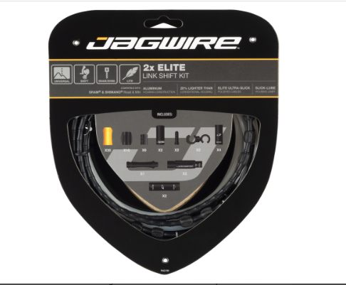 Jagwire Jagwire 2x Elite Link Shift Cable Kit SRAM/Shimano with Polished Ultra-Slick Cables, Black
