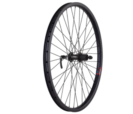"Quality Wheels Quality Wheels Value HD Series Disc Rear Wheel - 26"", QR x 135mm, Center-Lock, HG 10, Black"