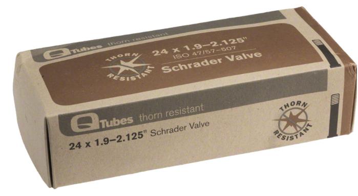 """Q-Tubes Q-Tubes Thorn Resistant 24"""" x 1.9-2.125"""" Schrader Valve Tube 600g *Low Lead Valve* tube, inner tube"""