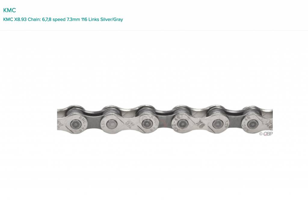 KMC KMC X8.93 Chain: 6,7,8 speed 7.3mm 116 Links Silver/Gray