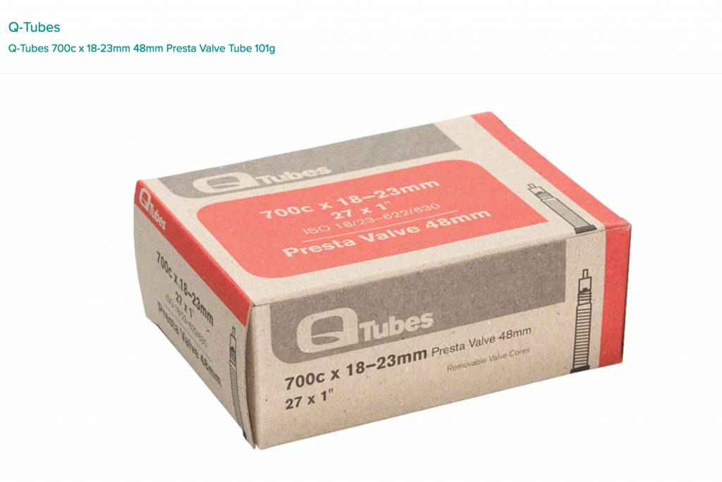 Q-Tubes Q-Tubes 700c x 18-23mm 48mm Presta Valve Tube 101g inner tube