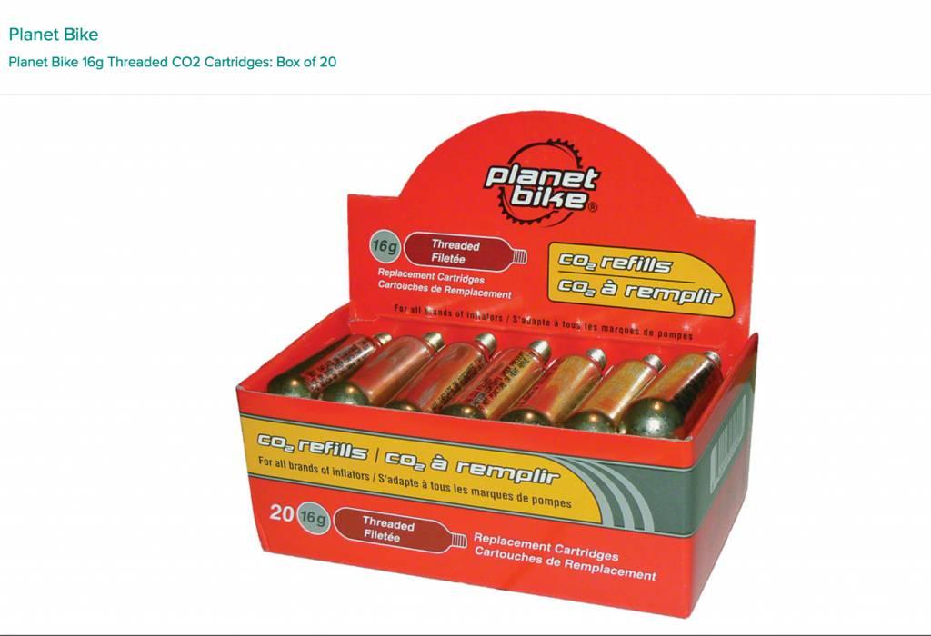 Planet Bike Planet Bike 16g Threaded CO2 Cartridges: Box of 20