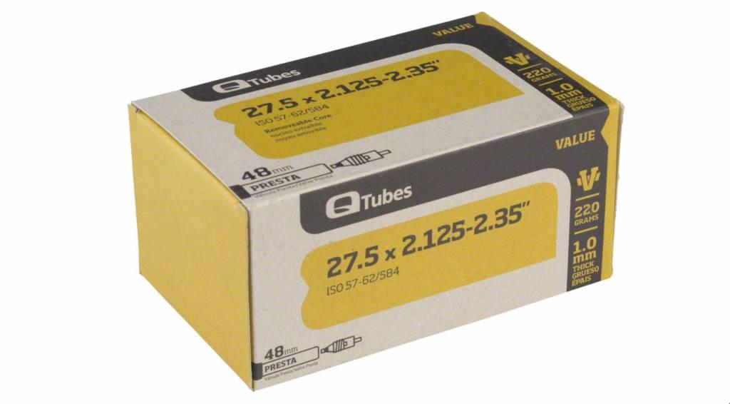 "Q-Tubes Q-Tubes Value Series Tube with 48mm Presta Valve: 27.5 x 2.125-2.35"""