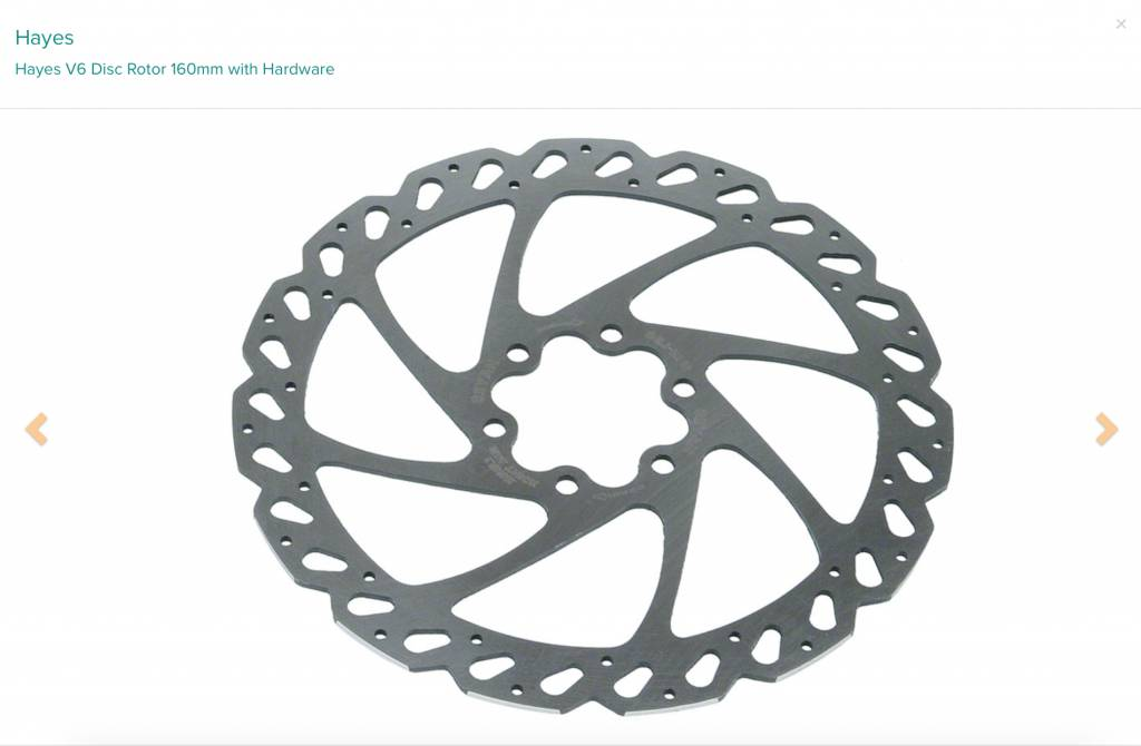 Hayes Hayes V6 Disc Rotor 160mm with Hardware
