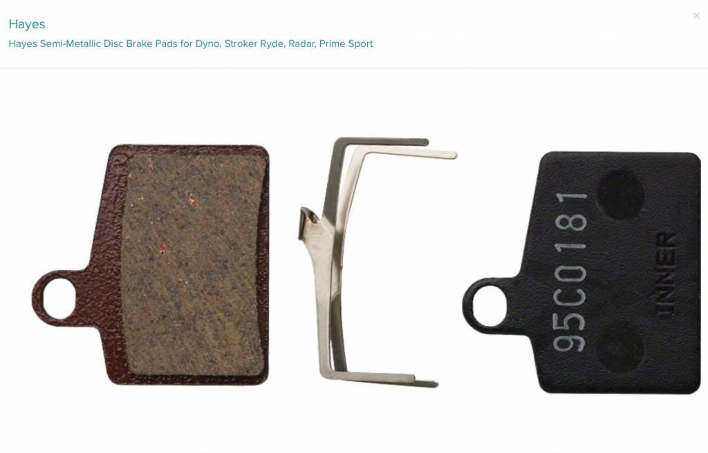 Hayes Hayes Semi-Metallic Disc Brake Pads for Dyno, Stroker Ryde, Radar, Prime Sport