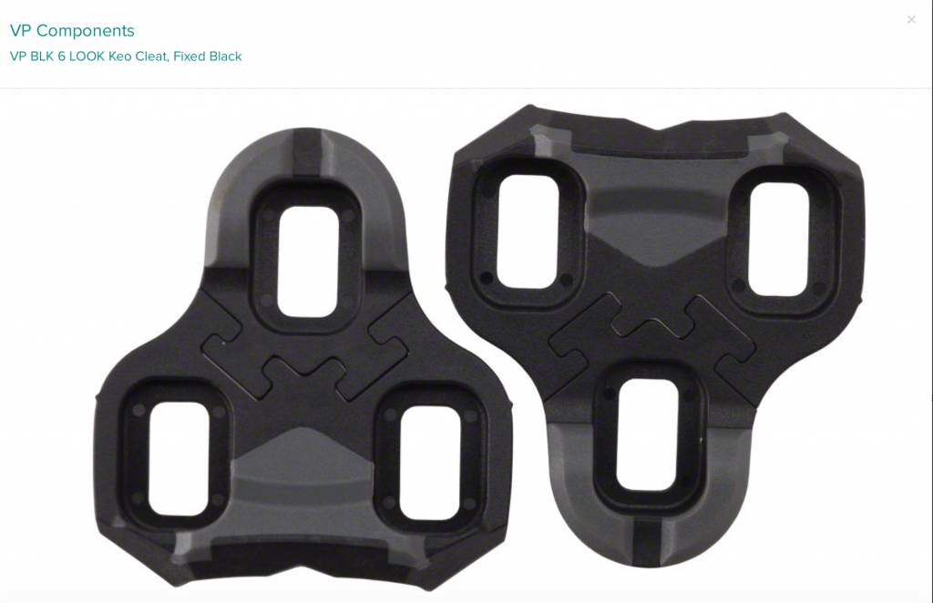 VP Components VP BLK 6 LOOK Keo Cleat, Fixed Black