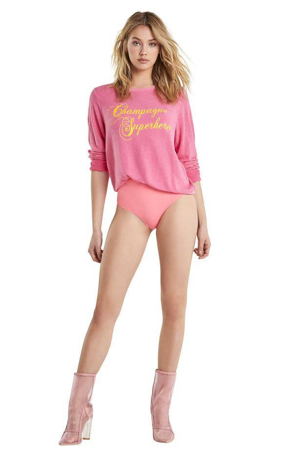 Wildfox Couture Champagne Superhero Baggy Beach Jumper