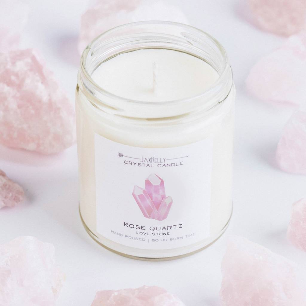JaxKelly Rose Quartz Crystal Candle