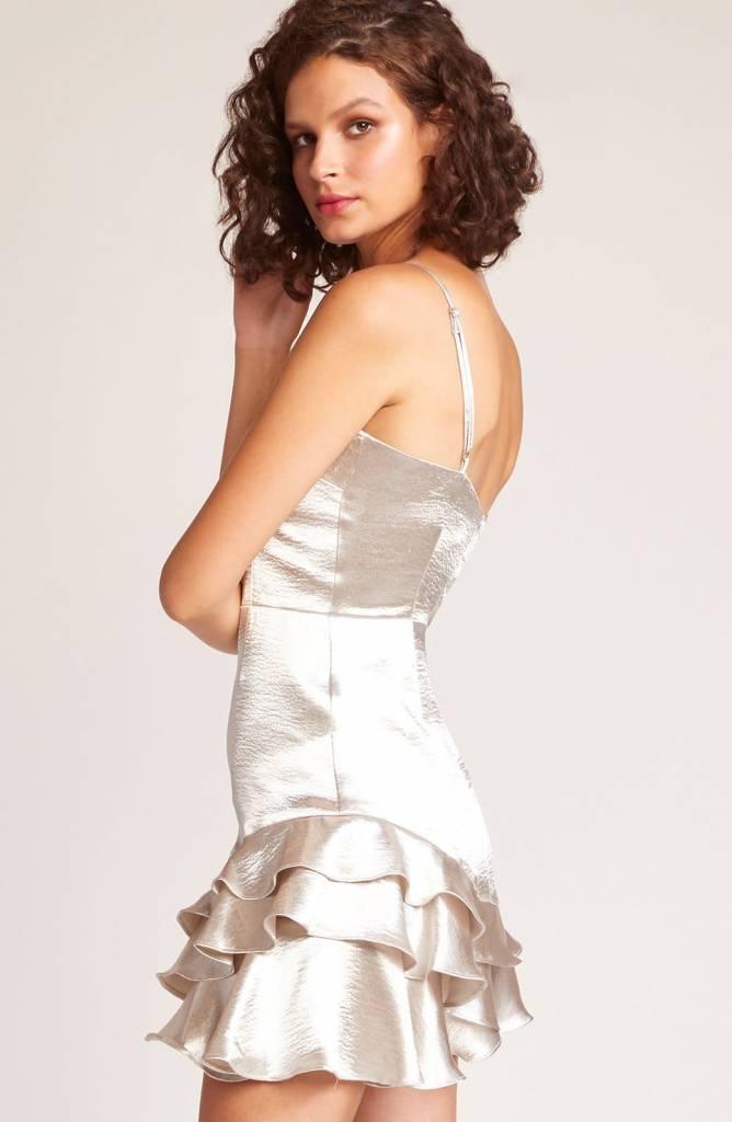 BB Dakota Flawless Metallic Ruffle Dress