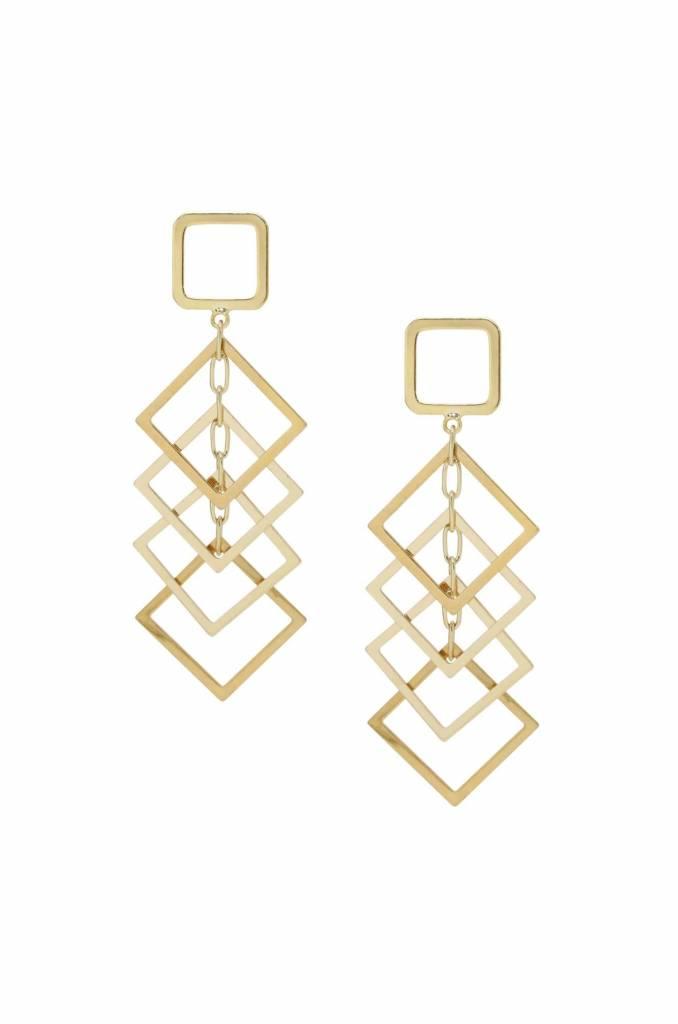 Ettika Dangling Diamond Shape Drop Earrings