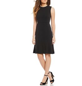 Donna Morgan Camila Black Dress with Pearl Neckline