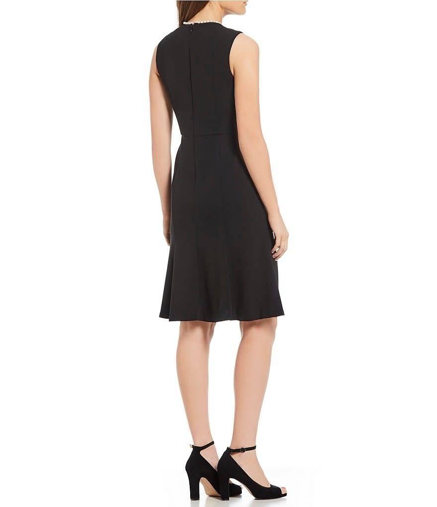 Donna Morgan Camila Black Dress with Pearl Neckline