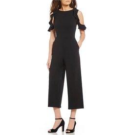 Donna Morgan Presley Black Crepe Jumpsuit
