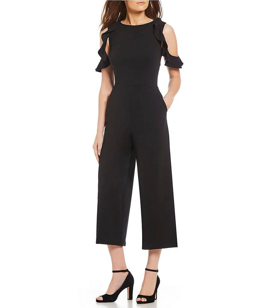 Donna Morgan Presley Black Crepe Jumpsuit
