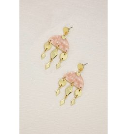 Ettika Pink Geometric Gold & Resin Dangle Earrings