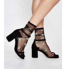 Tabbisocks Black/Silver Tulle Star Socks