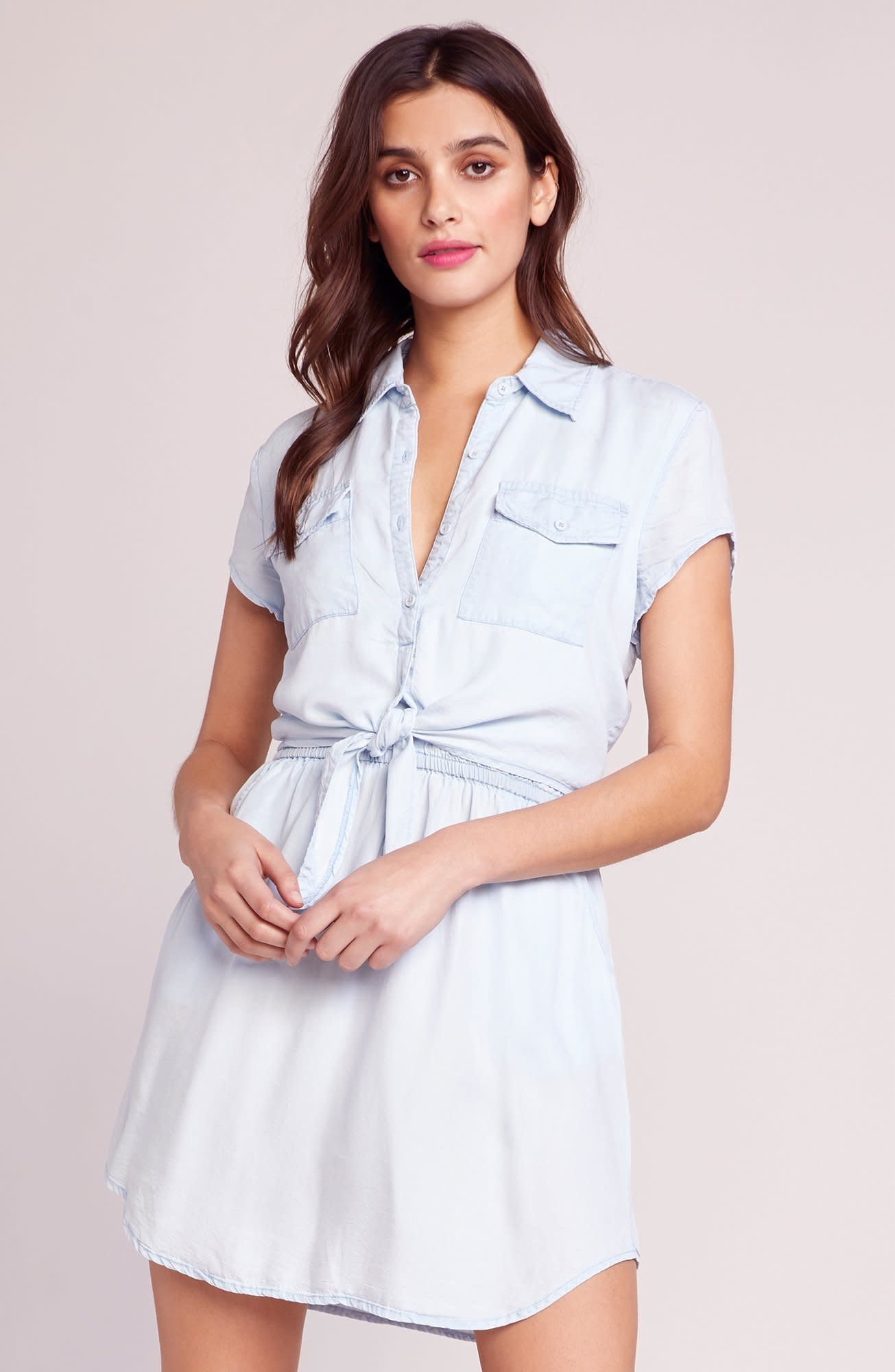 BB Dakota Chambray You Stay Tie Front Dress