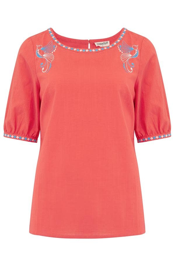 Sugarhill Brighton Folk Bird Embroidered Top