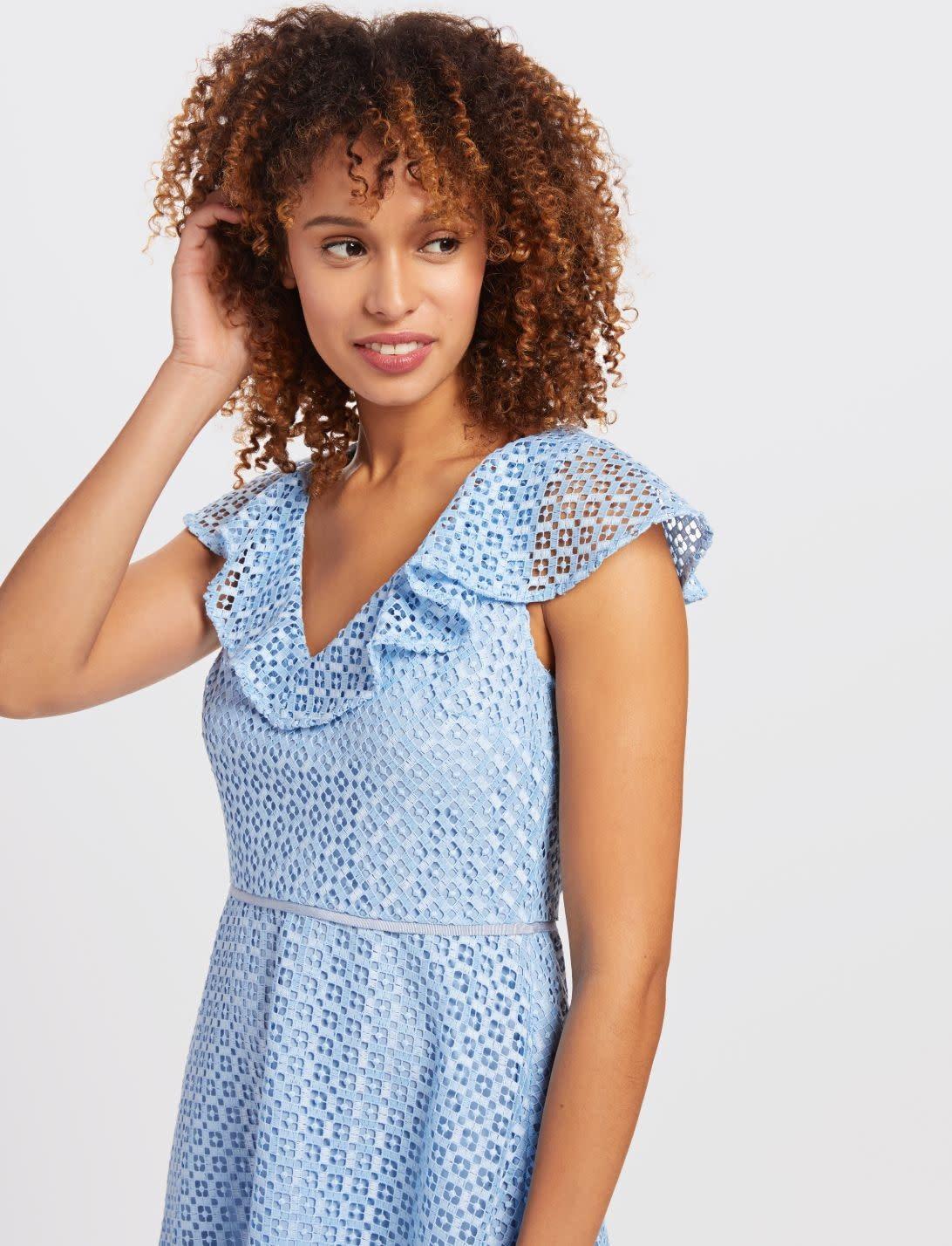 Draper James Lattice A-line Dress Light Blue