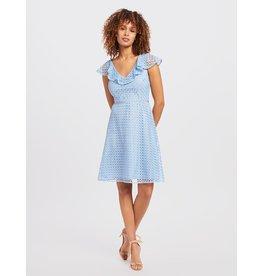Lattice A-line Dress Light Blue
