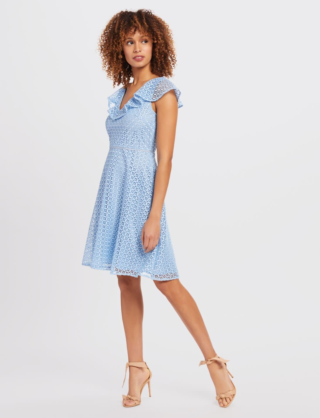 Lattice A-line Dress Light Blue
